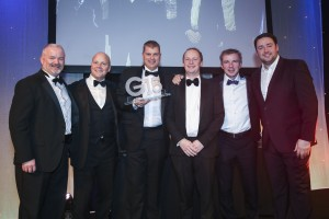 Commercial Project:  Pilkington, Michael Metcalfe  received the trophy from Ultraframe's  Steve McIntyre.